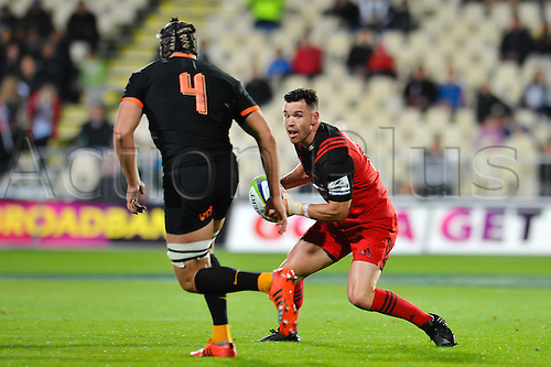 15.04.2016. Christchurch, New Zealand.  Ryan Crotty of the Crusaders eludes Guido Petti of the Jaguares during the Super Rugby Match, Crusaders V Jaguares, AMI Stadium, Christchurch, New Zealand. 15th April 2016.