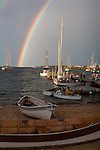 A double rainbow arcs over Vineyard Haven Harbor in Tisbury, Marthas Vineyard, Massachusetts, USA