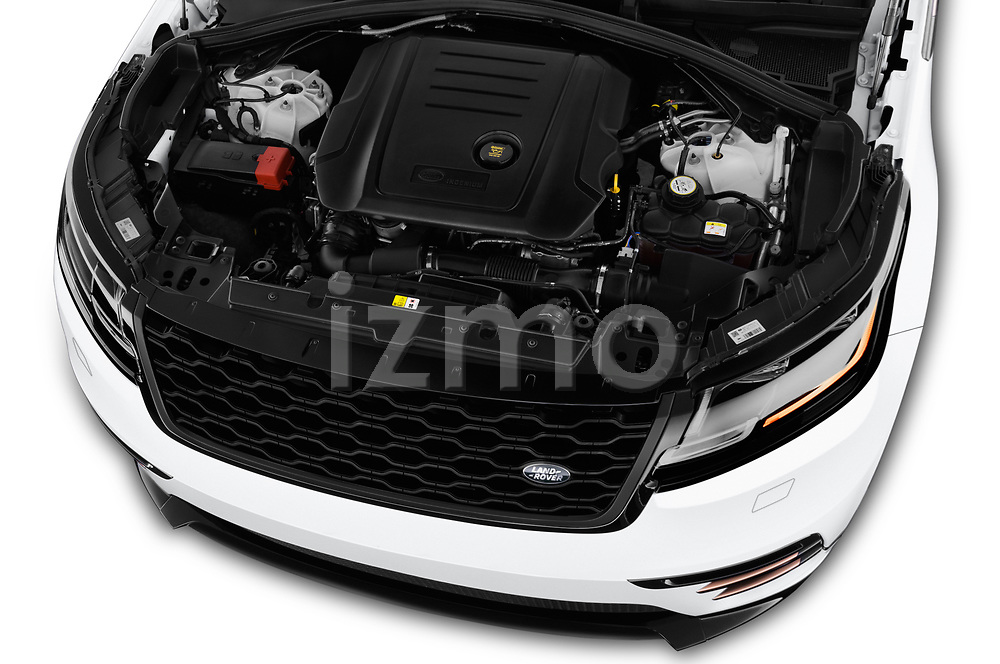 Car stock 2018 Land Rover Range Rover Velar R-Dynamic SE 5 Door SUV engine high angle detail view