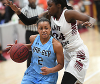 NWA Democrat-Gazette/J.T. WAMPLER Springdale Har-Ber's Krislyn Smith tries to get past Springdale's Marquesha Davis Tuesday Jan. 9, 2018. Springdale beat Har-Ber 59-44.