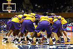 19 December 2013: Albany players huddle before the game. The Duke University Blue Devils played the University at Albany, The State University of New York Great Danes at Cameron Indoor Stadium in Durham, North Carolina in a 2013-14 NCAA Division I Women's Basketball game. Duke won the game 80-51.