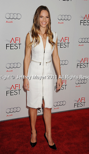 """HOLLYWOOD, CA - NOVEMBER 03: Hilary Swank attends AFI Fest 2011 Opening Night Gala World Premiere Of """"J. Edgar""""at Grauman's Chinese Theatre on November 3, 2011 in Hollywood, California."""