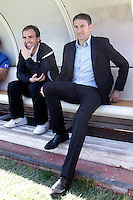 Real Sociedad's coach Phillipe Montanier and his assistant Jagoba Arrasate Elustondo during La Liga match.April 14,2013. (ALTERPHOTOS/Acero)