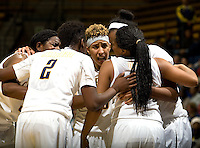 Layshia Clarendon of California talks with her teammates in a huddle during the game against Kansas at Haas Pavilion in Berkeley, California on December 21st, 2012.  California defeated Kansas, 88-79.