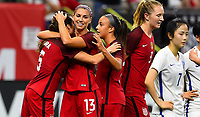 New Orleans, LA - Thursday October 19, 2017: Alex Morgan scores a goal and celebrates   during an International friendly match between the Women's National teams of the United States (USA) and South Korea (KOR) at Mercedes Benz Superdome.