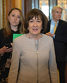 United States Senator Susan Collins (Republican of Maine) leaves the US Senate Chamber after delivering a speech in support of the candidacy of Judge Brett Kavanaugh to be Associate Justice of the US Supreme Court in the US Capitol in Washington, DC on Friday, October 5, 2018. <br /> Credit: Ron Sachs / CNP<br /> (RESTRICTION: NO New York or New Jersey Newspapers or newspapers within a 75 mile radius of New York City)