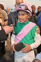 www.acepixs.com<br /> <br /> January 282017, Hallandale, FL<br /> <br /> <br /> Jockey Mike Smith celebrates after winning The Inaugural $12 Million Pegasus World Cup Invitational, The World's Richest Thoroughbred Horse Race at Gulfstream Park on January 28, 2017 in Hallandale, Florida <br /> <br /> By Line: Solar/ACE Pictures<br /> <br /> ACE Pictures Inc<br /> Tel: 6467670430<br /> Email: info@acepixs.com<br /> www.acepixs.com