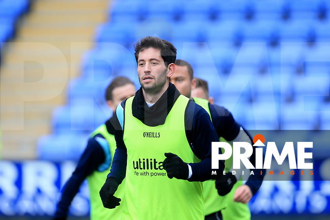 Joe Jacobson of Wycombe Wanderers warming up before  the Sky Bet League 1 match between Shrewsbury Town and Wycombe Wanderers at Greenhous Meadow, Shrewsbury, England on 16 March 2019. Photo by Leila Coker / PRiME Media Images.