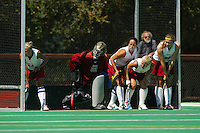 2 September 2005: Lyndsay Erickson, Madison Bell, Tammy Shuer, Missy Halliday and Aska Sturdevan during Stanford's 3-1 loss to the University of Iowa at the Varsity Turf Field in Stanford, CA.