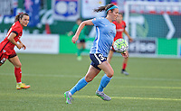 Portland, Oregon - Saturday July 2, 2016: Sky Blue FC defender Erin Simon (33) controls the ball during a regular season National Women's Soccer League (NWSL) match at Providence Park.