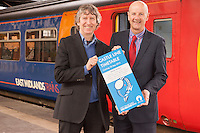 Pictured at the launch of the new Castle Line Timetable at Nottingham Station are Jim Bamford, Rail Manager for Notts County Council (left) and Cllr Steve Calvert of Notts County Council