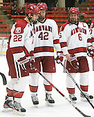 David Valek (Harvard - 22), Brendan Rempel (Harvard - 42), Ryan Grimshaw (Harvard - 6) - The Harvard University Crimson defeated the visiting Clarkson University Golden Knights 3-2 on Harvard's senior night on Saturday, February 25, 2012, at Bright Hockey Center in Cambridge, Massachusetts.