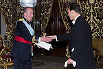 09.10.2012.  King Juan Carlos I of Spain attend the reception of credentials of the new Ambassador of Republic of Bulgaria, Kostadin Tashev Kodzhabashev, in the Royal Palace in Madrid, Spain. In the image King Juan Carlos and Kostadin Tashev Kodzhabashev (Alterphotos/Marta Gonzalez)