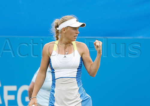 19.06.2013 Eastbourne, England.  Caroline Wozniacki(DEN) defeats Laura Robson(GBR) by a score 6-4 6-4 at the AEGON International tournament at Devonshire Park