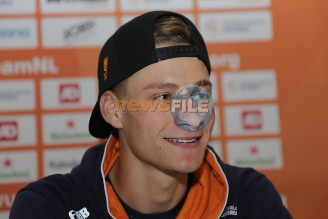 Mathieu Van Der Poel (NED) press conference during the Men U23 Road Race of the UCI World Championships 2019 running 186.9km from Doncaster to Harrogate, England. 27th September 2019.<br /> Picture: Eoin Clarke | Cyclefile<br /> <br /> All photos usage must carry mandatory copyright credit (© Cyclefile | Eoin Clarke)