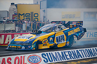 Jul 18, 2020; Clermont, Indiana, USA; NHRA funny car driver Ron Capps during qualifying for the Summernationals at Lucas Oil Raceway. Mandatory Credit: Mark J. Rebilas-USA TODAY Sports