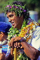 "Navigator of Polynesian voyaging canoe, Hokule'a, Nainoa Thompson - homecoming, ""Voyage of Education;"" Kualoa, Oahu - 12/5/92"
