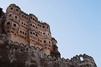 A section of the elaborate and beautiful Rajput architecture of the Mehrangarh Fort, Jodhpur, Rajasthan, India