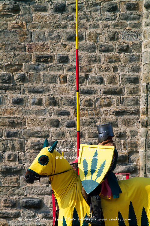 Medieval knight on his horse during a show in Carcassonne, France.