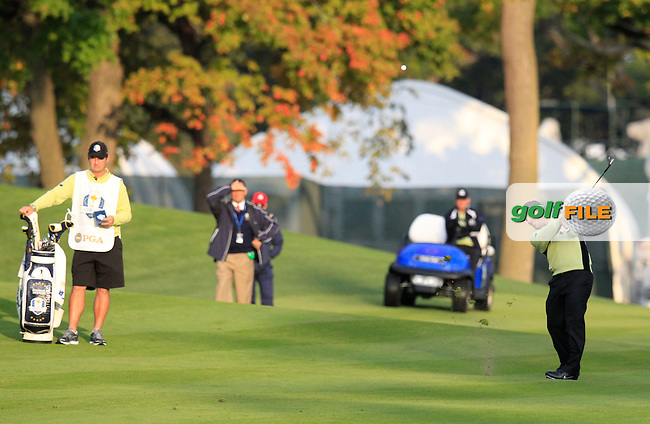 Europe's Francesco Molinari (ITA) plays his 2nd shot on the 1st hole during Friday's Morning Foursomes Matches of the 39th Ryder Cup at Medinah Country Club, Chicago, Illinois 28th September 2012 (Photo Eoin Clarke/www.golffile.ie)