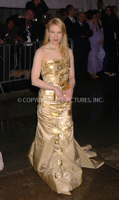 Renee Zellweger arrived at the Costume Institute Gala celebrating 'Dangerous liaisons: Fashion and Furniture in the 18th Century' at the Metropolitan Museum on the Upper East Side of Manhattan. New York City. April 26 2004. Please byline: AJ SOKALNER/ACE Pictures.   ..*PAY-PER-USE*      ....IMPORTANT: Please note that our old trade name, NEW YORK PHOTO PRESS (NYPP), is replaced by new name, ACE PICTURES. New York Photo Press and ACE Pictures are owned by All Celebrity Entertainment, Inc.......All Celebrity Entertainment, Inc:  ..contact: Alecsey Boldeskul (646) 267-6913 ..Philip Vaughan (646) 769-0430..e-mail: info@nyphotopress.com