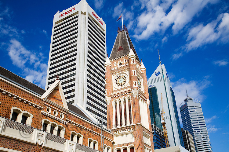 The historic Town Hall and modern architecture of Perth, Western Australia, AUSTRALIA.