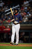 Lowell Spinners first baseman Xavier LeGrant (15) at bat during a game against the Vermont Lake Monsters on August 25, 2018 at Edward A. LeLacheur Park in Lowell, Massachusetts.  Vermont defeated Lowell 4-3.  (Mike Janes/Four Seam Images)