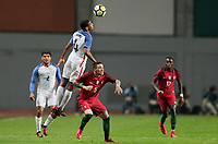 Leiria, Portugal - Tuesday November 14, 2017: Tyler Adams, Vitorino Antunes during an International friendly match between the United States (USA) and Portugal (POR) at Estádio Dr. Magalhães Pessoa.