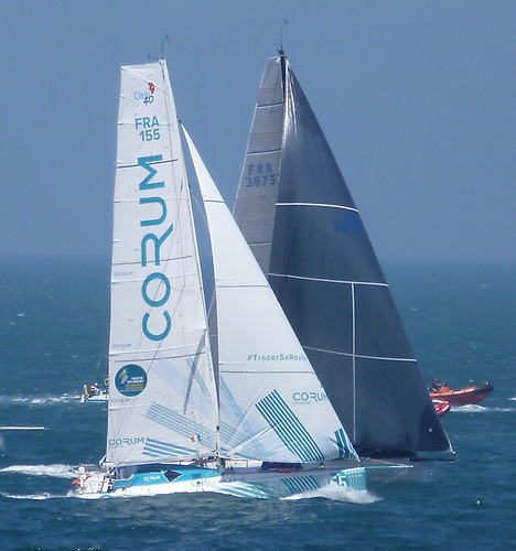 Mach 3 Corum with Ian Lipinsky on the strength as she breaks clear to lee of Eric de Turkheim's Teasing Machine at the start of the 2018 Round Ireland