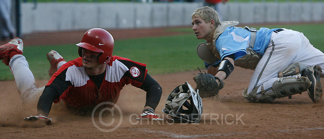 Chris Detrick | The Salt Lake Tribune.Bear River's Hunter Payne #11 slides safely into home base past Canyon View's Lex Nielson #5 during the game at Kearns High School Friday, May 14, 2010.
