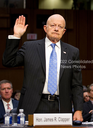 Former Director of National Intelligence of the United States James R. Clapper is sworn-in to testify before the US Senate Committee on the Judiciary Subcommittee on Crime and Terrorism hearing titled &ldquo;Russian Interference in the 2016 United States Election&rdquo; on Capitol Hill in Washington, DC on Monday, May 8, 2017.<br /> Credit: Ron Sachs / CNP<br /> (RESTRICTION: NO New York or New Jersey Newspapers or newspapers within a 75 mile radius of New York City)