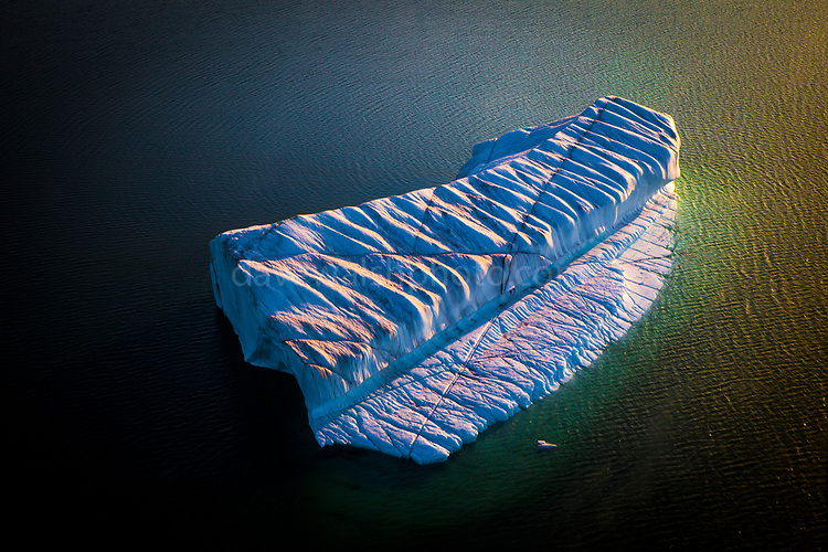 Aerial photo of crenellated - or corrugated iceberg, drifting near Humboldt Glacier, Greenland. Humbolt glacier is the widest glacier, at 110km, in the northern hemisphere.