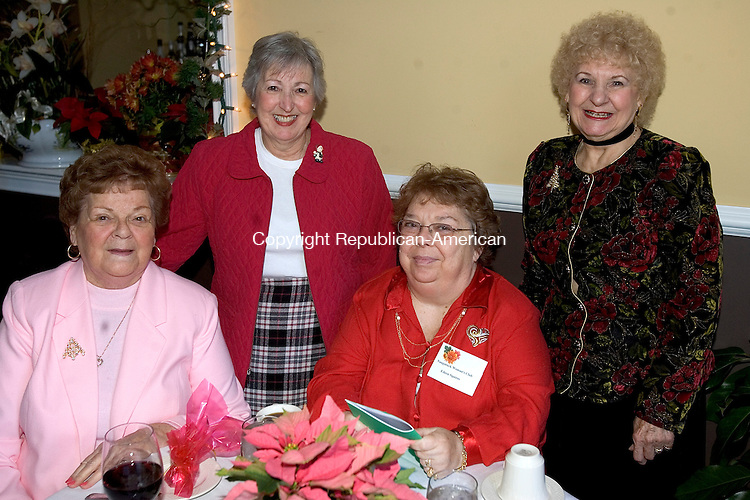 MIDDLEBURY, CT 01 December 2008-120108SV07--From left, Anne Adamski of Naugatuck,  Janet Conroy of Naugatuck, Eileen Squires of Naugatuck and Dorothy Smith of Naugatuck attend the Naugatuck Woman's Club annual Christmas luncheon at Junipers Restaurant in Middlebury Monday.<br /> Steven Valenti Republican-American