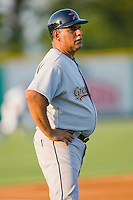 Greeneville Astros manager Ed Romero #16 in the third base coaches box during an Appalachian League game against the Burlington Royals at Burlington Athletic Stadium June22, 2010, in Burlington, North Carolina.  Photo by Brian Westerholt / Four Seam Images