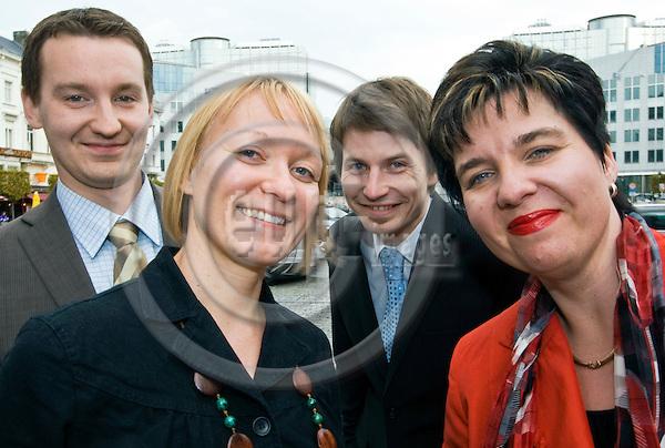 BRUSSELS - BELGIUM - 21 OCTOBER 2008 -- Staff of TURKU-Southwest Finland European Office. -- .Hanna Tarvainen - trainee, Ville Korhonen - EU-advisor, Tuomas Iso-Markku - trainee, Krista Taipale-Salminen, head of office. -- PHOTO: JUHA ROININEN / EUP-IMAGES