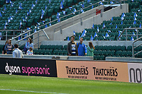 A general view of a Thatchers digital billboard alongside the pitch. The Clash, Aviva Premiership match, between Bath Rugby and Leicester Tigers on April 8, 2017 at Twickenham Stadium in London, England. Photo by: Patrick Khachfe / Onside Images