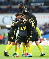 29th February 2020; Cardiff City Stadium, Cardiff, Glamorgan, Wales; English Championship Football, Cardiff City versus Brentford; Brentford players celebrate after going 0-2 up in the 21st minute
