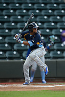 Charcer Burks (24) of the Myrtle Beach Pelicans at bat against the Winston-Salem Dash at BB&T Ballpark on May 2, 2016 in Winston-Salem, North Carolina.  The Pelicans defeated the Dash 3-2 in 11 innings.  (Brian Westerholt/Four Seam Images)