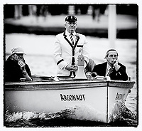 """Henley, GREAT BRITAIN,  2nd July 2008, Umpire and Steward, Mike Williams, """"Riding Bow in Argonaut"""", at 2008 Henley Royal Regatta, on, Henley Reach, Henley on Thames, ENGLAND, © Peter SPURRIER"""