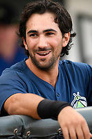 Designated hitter J.J. Franco (2) of the Columbia Fireflies before a game against the Charleston RiverDogs on Monday, August 7, 2017, at Spirit Communications Park in Columbia, South Carolina. Columbia won, 6-4. (Tom Priddy/Four Seam Images)