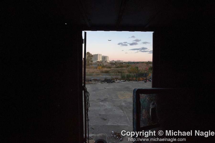 QUEENS, NY -- OCTOBER 25, 2013:  A view form an abandoned shipping container in Willets Point, where he sometimes sleeps, on October 25, 2013 in Queens, NY.  PHOTOGRAPH  BY MICHAEL NAGLE FOR THE NEW YORK TIMES