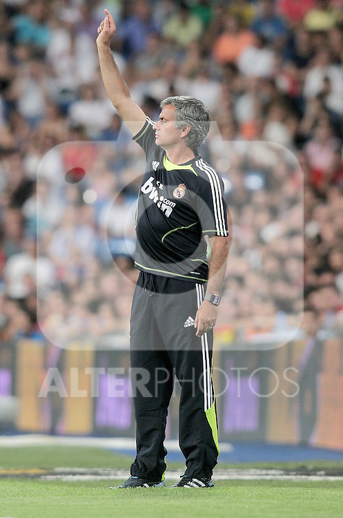 Real Madrid's Jose Mourinho gestures during Bernabeu Trophy. August 24, 2010. (ALTERPHOTOS/Alvaro Hernandez)