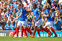 Goalscorer Jamal Lowe of Portsmouth (10) thanks Ronan Curtis of Portsmouth for supplying the goalscoring pass during Portsmouth vs Luton Town, Sky Bet EFL League 1 Football at Fratton Park on 4th August 2018