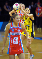 Joline Henry in action during the ANZ Netball Championship match between the Central Pulse and NSW Swifts at TSB Bank Arena, Wellington, New Zealand on Saturday, 25 April 2015. Photo: Dave Lintott / lintottphoto.co.nz