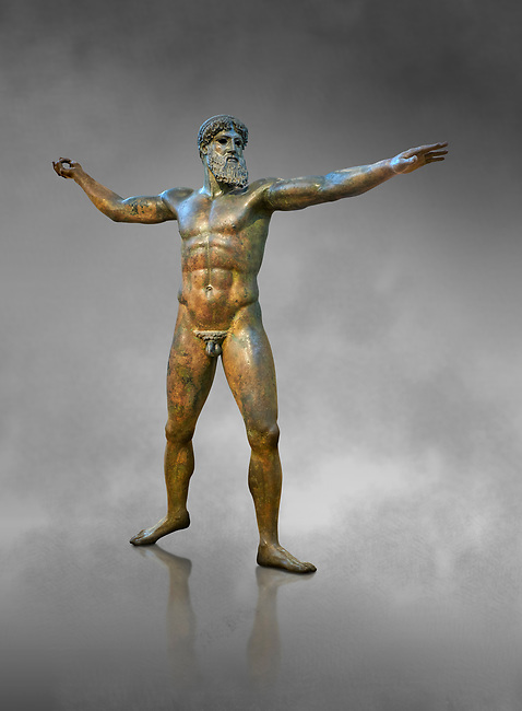 Early classical ancient Greek bronze statue of Zeus or Poseidon, circa 450 BC. Athens National Arcjaeological Museum, cat no X15161<br /> <br /> This bronze statue was found in the sea off Cape Artemision in northern Euobea. Zeus or Poseidon is shown making a great stride. His lefy arm is extended forward and his righy arm extends back which would have held a thunderbolt, if Zeus, or a trident if Poseidon. The identification of the statue is controversial though it ios more likely Zeus. <br /> <br /> It is one of the few preserved original statues of Severe Style, notable for the exuisite rendering of motion and anatomy. Iy is certainly the work of a great sculptor of the early ancient Greek Classical period