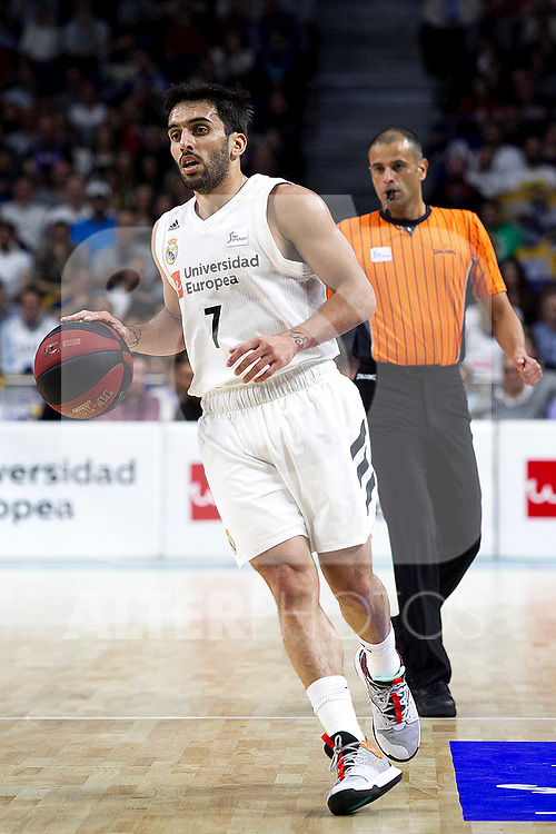 Real Madrid's Facundo Campazzo during Liga Endesa match between Real Madrid and FC Barcelona Lassa at Wizink Center in Madrid, Spain. March 24, 2019.  (ALTERPHOTOS/Alconada)