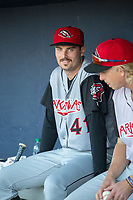 Arkansas Travelers pitcher Wyatt Mills (41) sits in the dugout during a Texas League game between the Northwest Arkansas Naturals and the Arkansas Travelers on May 30, 2019 at Arvest Ballpark in Springdale, Arkansas. (Jason Ivester/Four Seam Images)