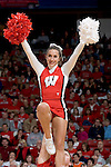 MADISON, WI - NOVEMBER 8: A cheerleader of the Wisconsin Badgers cheers during the game against the Carroll College Pioneers at the Kohl Center on November 8, 2006 in Madison, Wisconsin. The Badgers beat the Pioneers 81-61. (Photo by David Stluka)