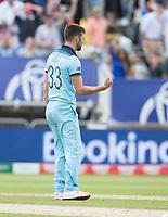 Mark Wood (England) celebrates the last wicket to fall during Australia vs England, ICC World Cup Semi-Final Cricket at Edgbaston Stadium on 11th July 2019