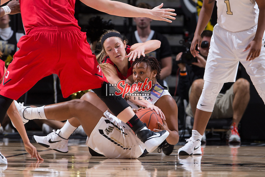 Ataijah Taylor (3) of the Wake Forest Demon Deacons fights for a loose ball during second half action against the Davidson Wildcats at the LJVM Coliseum on November 17, 2015 in Winston-Salem, North Carolina.  The Demon Deacons defeated the Wildcats 77-58.  (Brian Westerholt/Sports On Film)